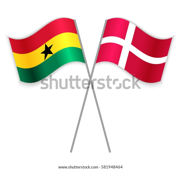 Ghanaian and Danish crossed flags. Ghana combined with Denmark isolated on white. Language learning, international business or travel concept.