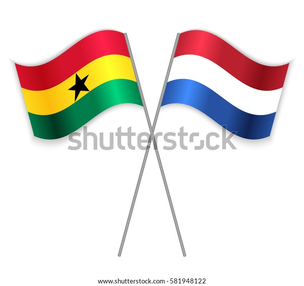 Ghanaian and Dutch crossed flags. Ghana combined with Netherlands isolated on white. Language learning, international business or travel concept.