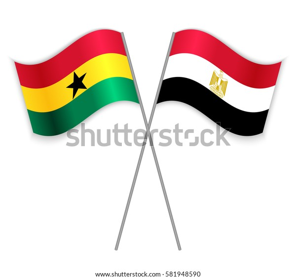 Ghanaian and Egyptian crossed flags. Ghana combined with Egypt isolated on white. Language learning, international business or travel concept.