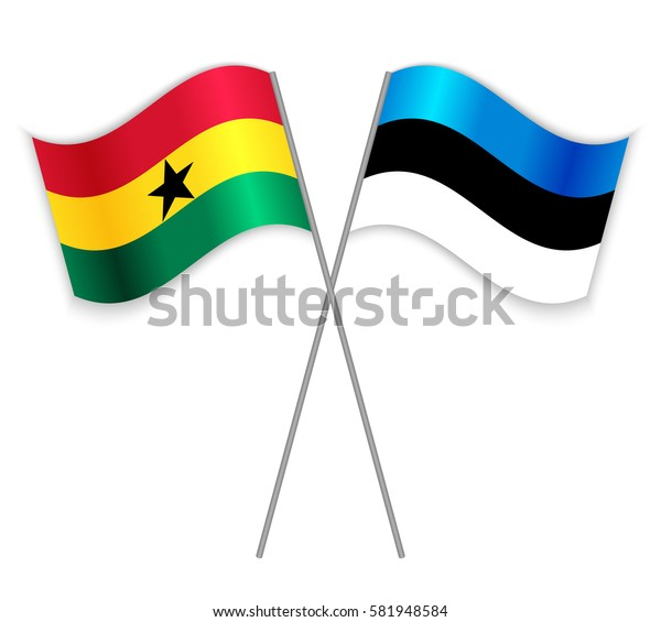 Ghanaian and Estonian crossed flags. Ghana combined with Estonia isolated on white. Language learning, international business or travel concept.