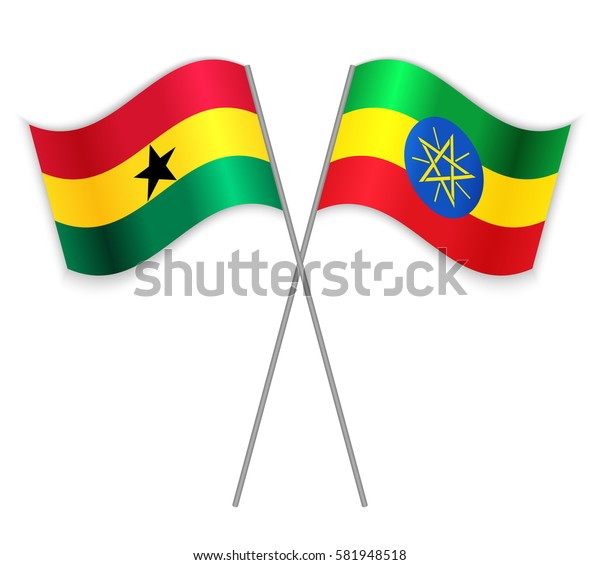 Ghanaian and Ethiopian crossed flags. Ghana combined with Ethiopia isolated on white. Language learning, international business or travel concept.