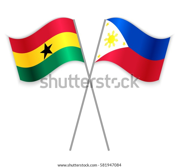 Ghanaian and Filipino crossed flags. Ghana combined with Philippines isolated on white. Language learning, international business or travel concept.