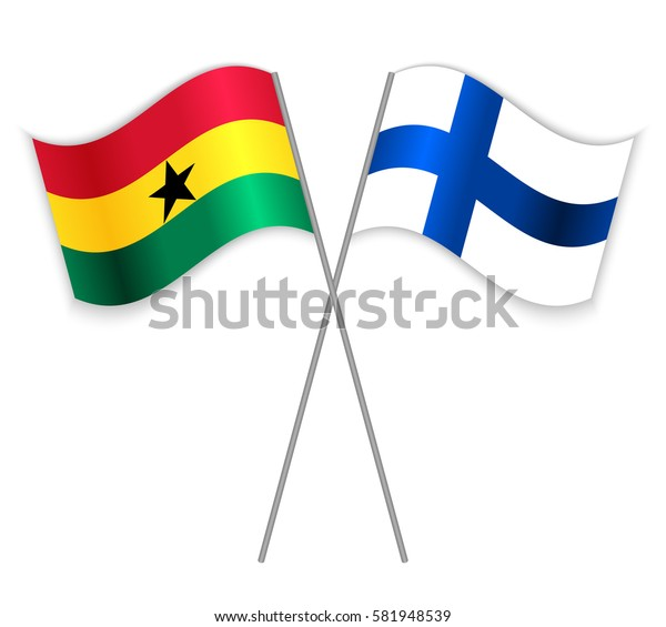 Ghanaian and Finnish crossed flags. Ghana combined with Finland isolated on white. Language learning, international business or travel concept.