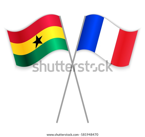 Ghanaian and French crossed flags. Ghana combined with France isolated on white. Language learning, international business or travel concept.