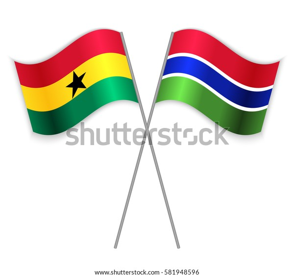 Ghanaian and Gambian crossed flags. Ghana combined with Gambia isolated on white. Language learning, international business or travel concept.