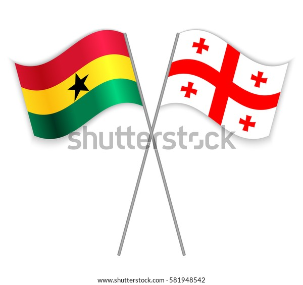 Ghanaian and Georgian crossed flags. Ghana combined with Georgia isolated on white. Language learning, international business or travel concept.