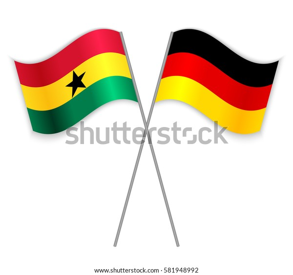 Ghanaian and German crossed flags. Ghana combined with Germany isolated on white. Language learning, international business or travel concept.