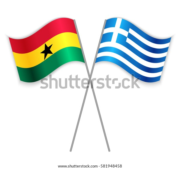 Ghanaian and Greek crossed flags. Ghana combined with Greece isolated on white. Language learning, international business or travel concept.
