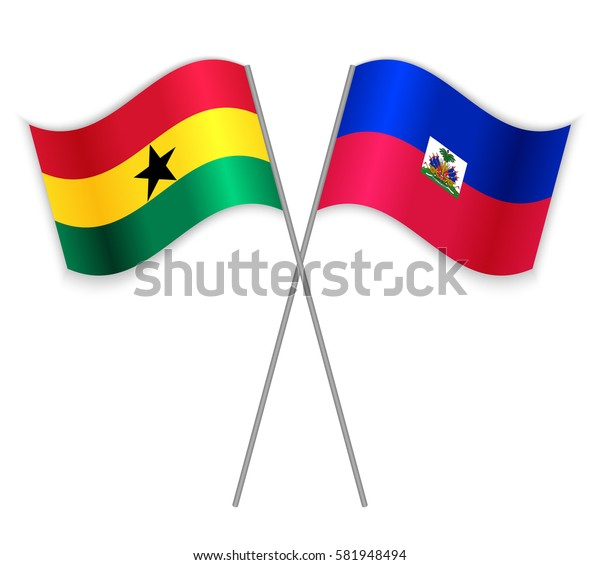 Ghanaian and Haitian crossed flags. Ghana combined with Haiti isolated on white. Language learning, international business or travel concept.
