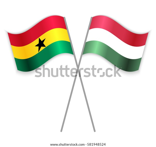 Ghanaian and Hungarian crossed flags. Ghana combined with Hungary isolated on white. Language learning, international business or travel concept.