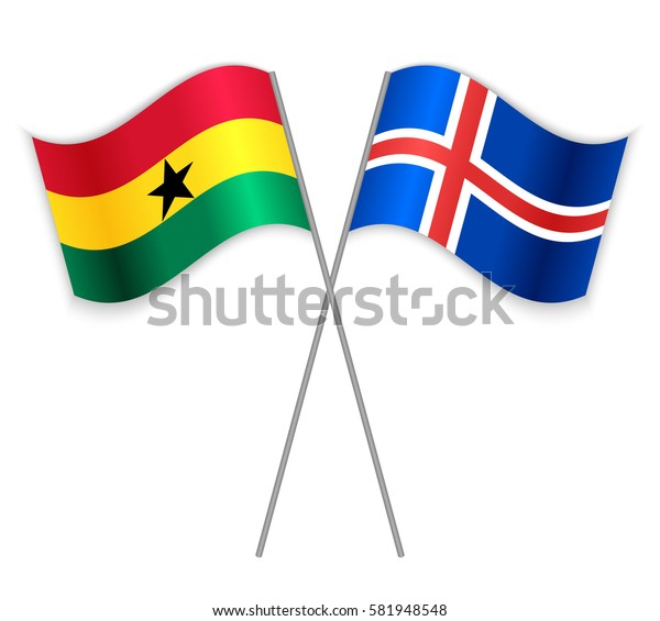 Ghanaian and Icelandic crossed flags. Ghana combined with Iceland isolated on white. Language learning, international business or travel concept.