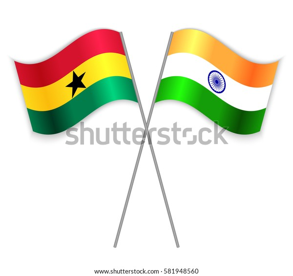 Ghanaian and Indian crossed flags. Ghana combined with India isolated on white. Language learning, international business or travel concept.