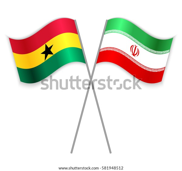 Ghanaian and Iranian crossed flags. Ghana combined with Iran isolated on white. Language learning, international business or travel concept.