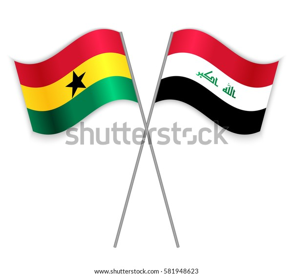 Ghanaian and Iraqi crossed flags. Ghana combined with Iraq isolated on white. Language learning, international business or travel concept.