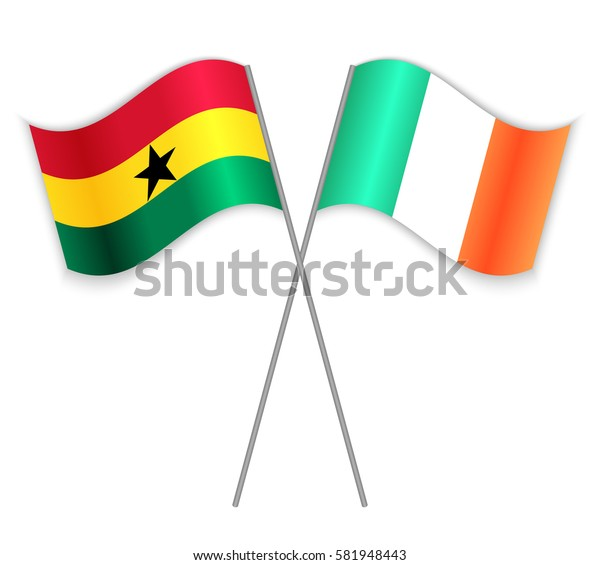 Ghanaian and Irish crossed flags. Ghana combined with Ireland isolated on white. Language learning, international business or travel concept.