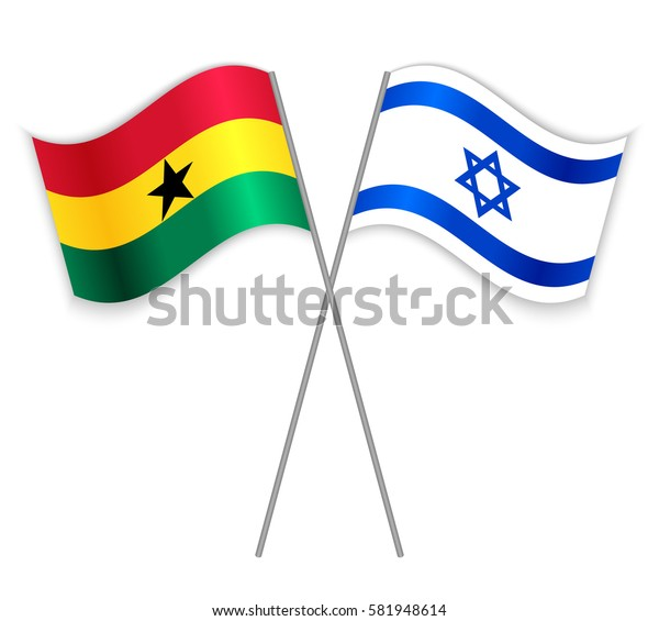 Ghanaian and Israeli crossed flags. Ghana combined with Israel isolated on white. Language learning, international business or travel concept.