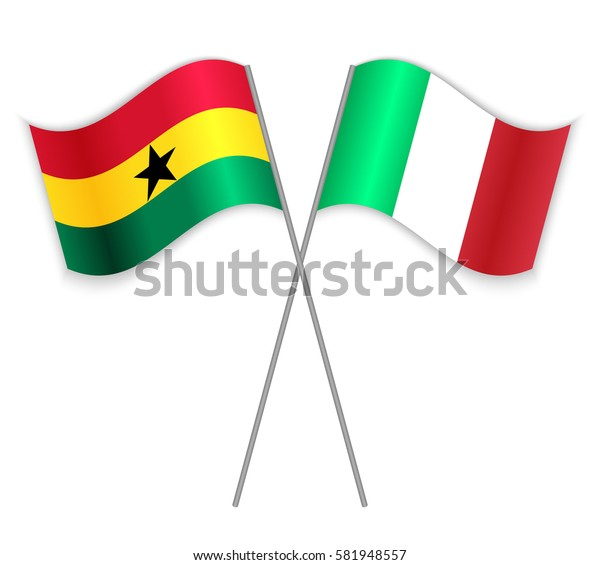 Ghanaian and Italian crossed flags. Ghana combined with Italy isolated on white. Language learning, international business or travel concept.