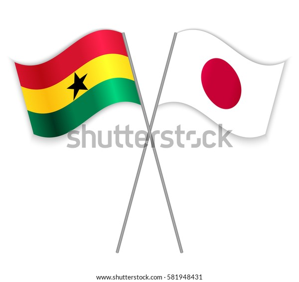 Ghanaian and Japanese crossed flags. Ghana combined with Japan isolated on white. Language learning, international business or travel concept.