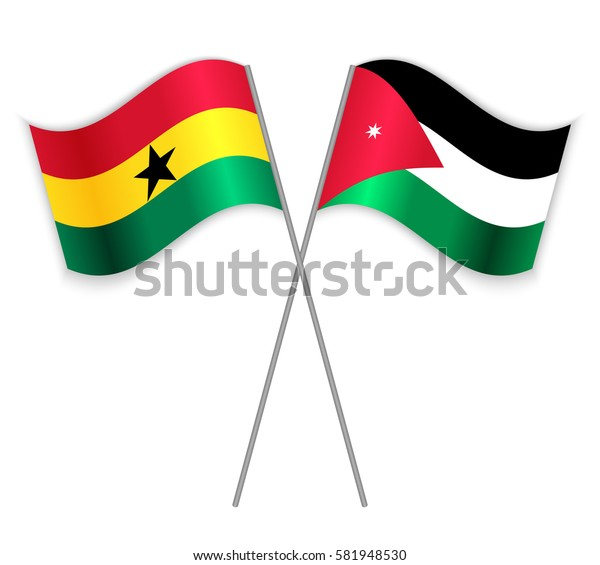 Ghanaian and Jordanian crossed flags. Ghana combined with Jordan isolated on white. Language learning, international business or travel concept.