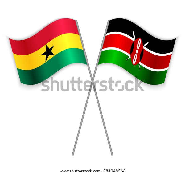 Ghanaian and Kenyan crossed flags. Ghana combined with Kenya isolated on white. Language learning, international business or travel concept.