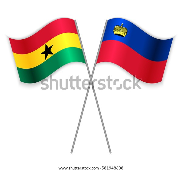Ghanaian and Liechtenstein crossed flags. Ghana combined with Liechtenstein isolated on white. Language learning, international business or travel concept.