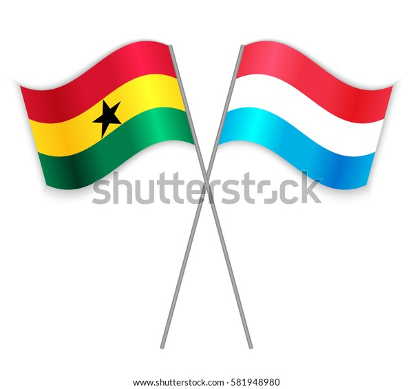 Ghanaian and Luxembourgish crossed flags. Ghana combined with Luxembourg isolated on white. Language learning, international business or travel concept.