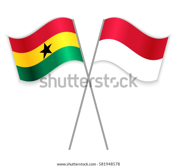 Ghanaian and Monegasque crossed flags. Ghana combined with Monaco isolated on white. Language learning, international business or travel concept.