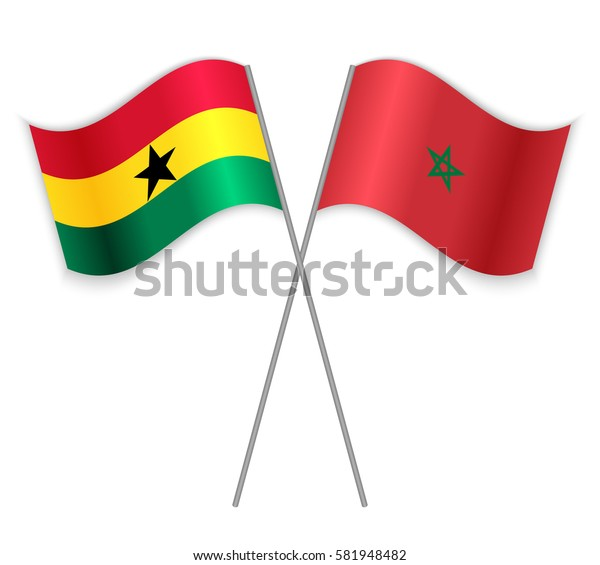 Ghanaian and Moroccan crossed flags. Ghana combined with Morocco isolated on white. Language learning, international business or travel concept.