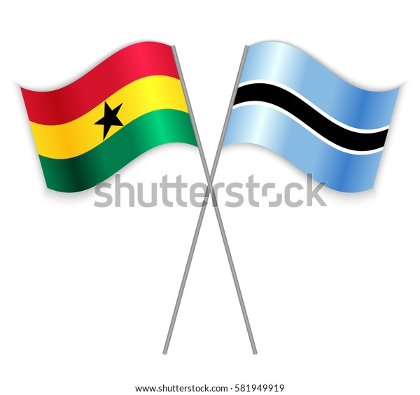 Ghanaian and Motswana crossed flags. Ghana combined with Botswana isolated on white. Language learning, international business or travel concept.