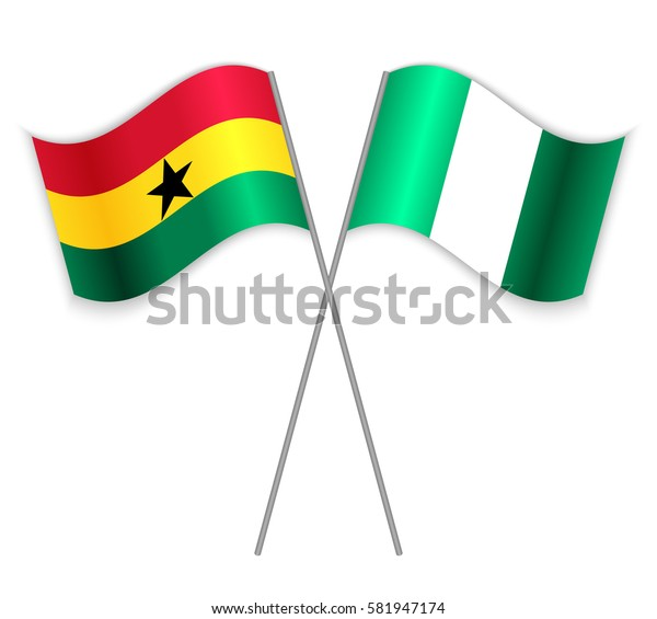 Ghanaian and Nigerian crossed flags. Ghana combined with Nigeria isolated on white. Language learning, international business or travel concept.