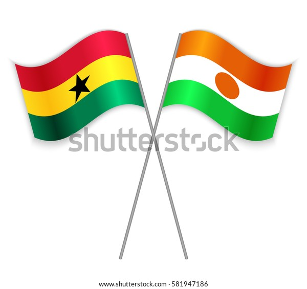 Ghanaian and Nigerien crossed flags. Ghana combined with Niger isolated on white. Language learning, international business or travel concept.