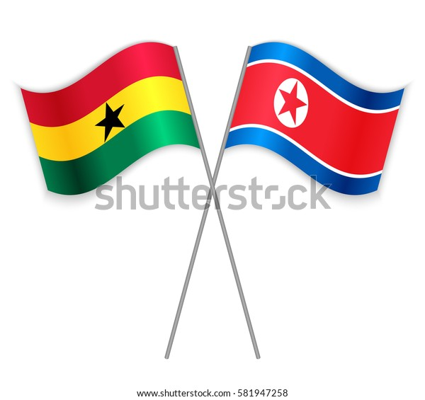 Ghanaian and North Korean crossed flags. Ghana combined with North Korea isolated on white. Language learning, international business or travel concept.