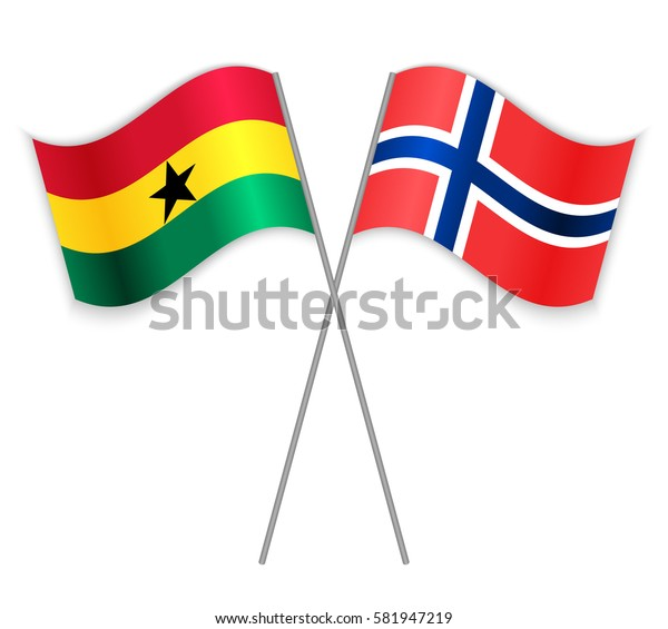 Ghanaian and Norwegian crossed flags. Ghana combined with Norway isolated on white. Language learning, international business or travel concept.