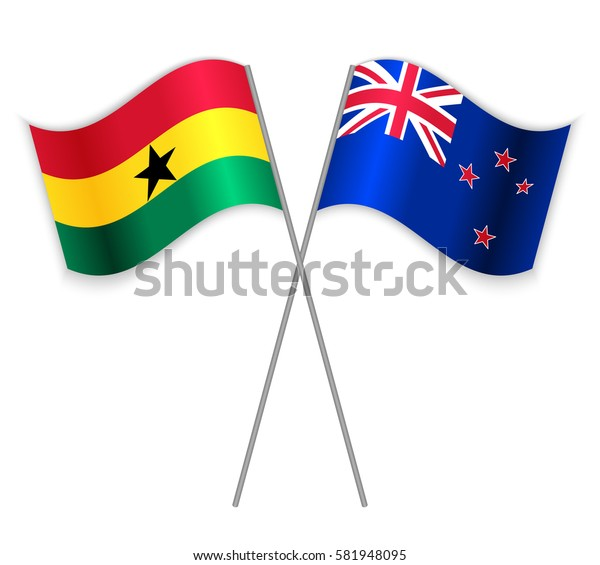 Ghanaian and NZ crossed flags. Ghana combined with New Zealand isolated on white. Language learning, international business or travel concept.