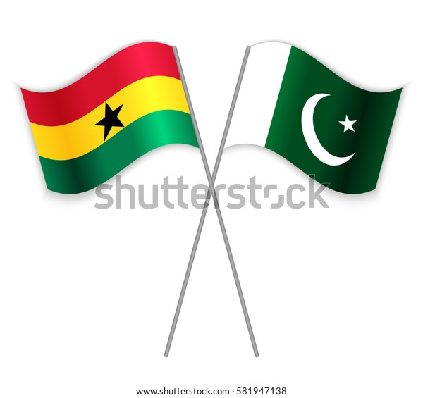 Ghanaian and Pakistani crossed flags. Ghana combined with Pakistan isolated on white. Language learning, international business or travel concept.
