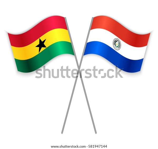 Ghanaian and Paraguayan crossed flags. Ghana combined with Paraguay isolated on white. Language learning, international business or travel concept.