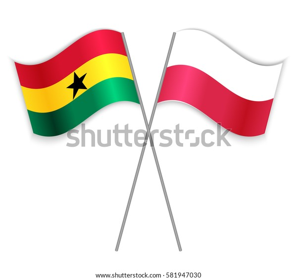 Ghanaian and Polish crossed flags. Ghana combined with Poland isolated on white. Language learning, international business or travel concept.