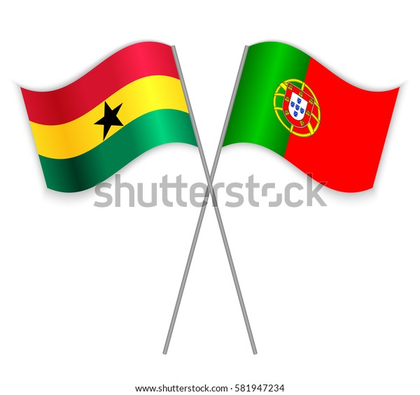 Ghanaian and Portuguese crossed flags. Ghana combined with Portugal isolated on white. Language learning, international business or travel concept.