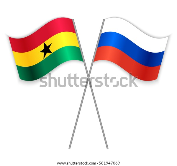 Ghanaian and Russian crossed flags. Ghana combined with Russia isolated on white. Language learning, international business or travel concept.