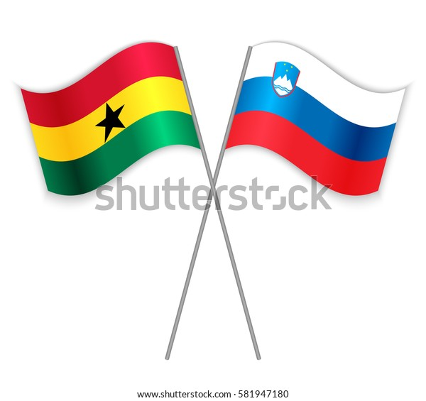 Ghanaian and Slovenian crossed flags. Ghana combined with Slovenia isolated on white. Language learning, international business or travel concept.