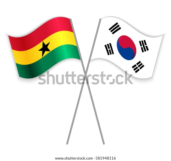 Ghanaian and South Korean crossed flags. Ghana combined with South Korea isolated on white. Language learning, international business or travel concept.