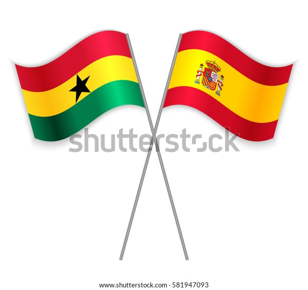 Ghanaian and Spanish crossed flags. Ghana combined with Spain isolated on white. Language learning, international business or travel concept.