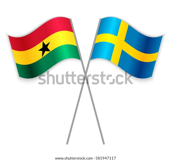 Ghanaian and Swedish crossed flags. Ghana combined with Sweden isolated on white. Language learning, international business or travel concept.