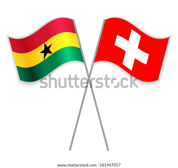 Ghanaian and Swiss crossed flags. Ghana combined with Switzerland isolated on white. Language learning, international business or travel concept.