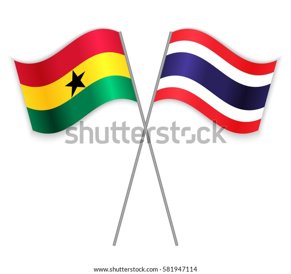 Ghanaian and Thai crossed flags. Ghana combined with Thailand isolated on white. Language learning, international business or travel concept.