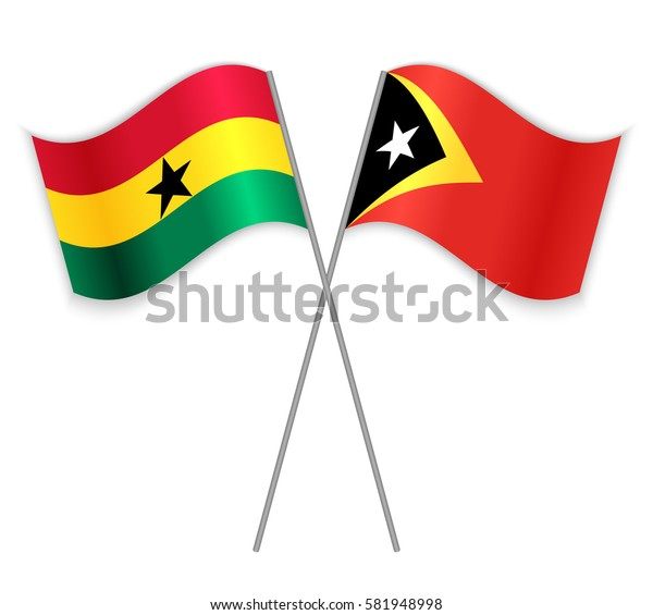 Ghanaian and Timorese crossed flags. Ghana combined with East Timor isolated on white. Language learning, international business or travel concept.