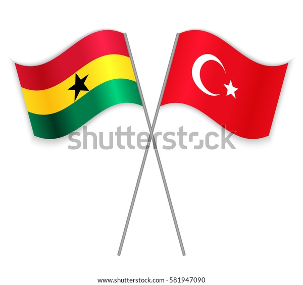 Ghanaian and Turkish crossed flags. Ghana combined with Turkey isolated on white. Language learning, international business or travel concept.
