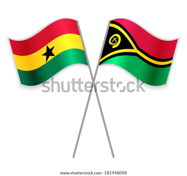 Ghanaian and Vanuatuan crossed flags. Ghana combined with Vanuatu isolated on white. Language learning, international business or travel concept.