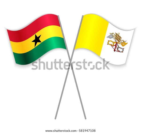 Ghanaian and Vatican crossed flags. Ghana combined with Vatican City State isolated on white. Language learning, international business or travel concept.