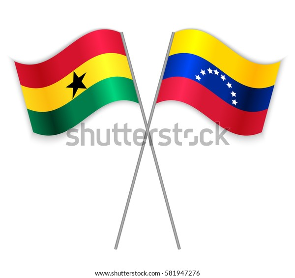 Ghanaian and Venezuelan crossed flags. Ghana combined with Venezuela isolated on white. Language learning, international business or travel concept.